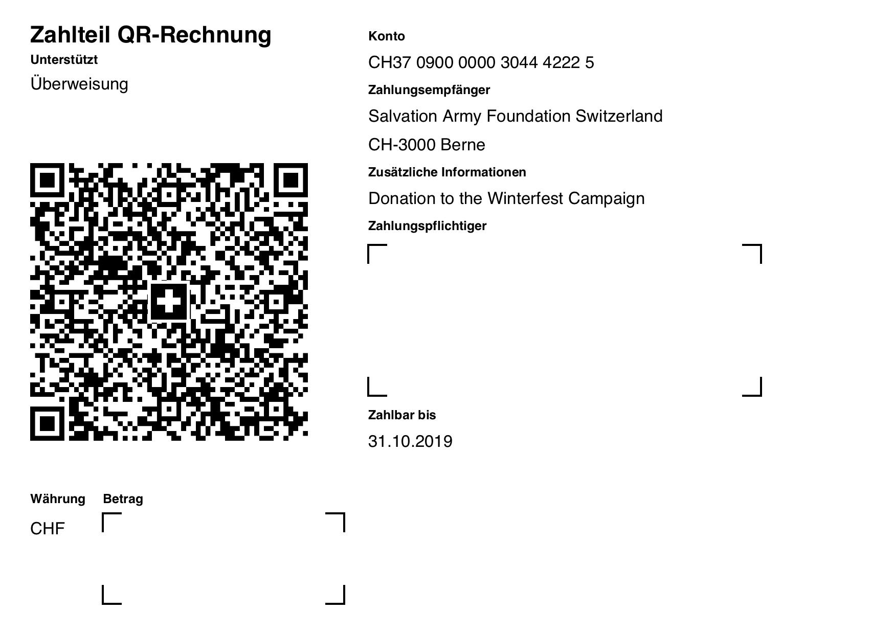 ISO-20022 QR Code Rechnung ohne Referenz, Betrag und Zahlungspflichtiger mit Due Date