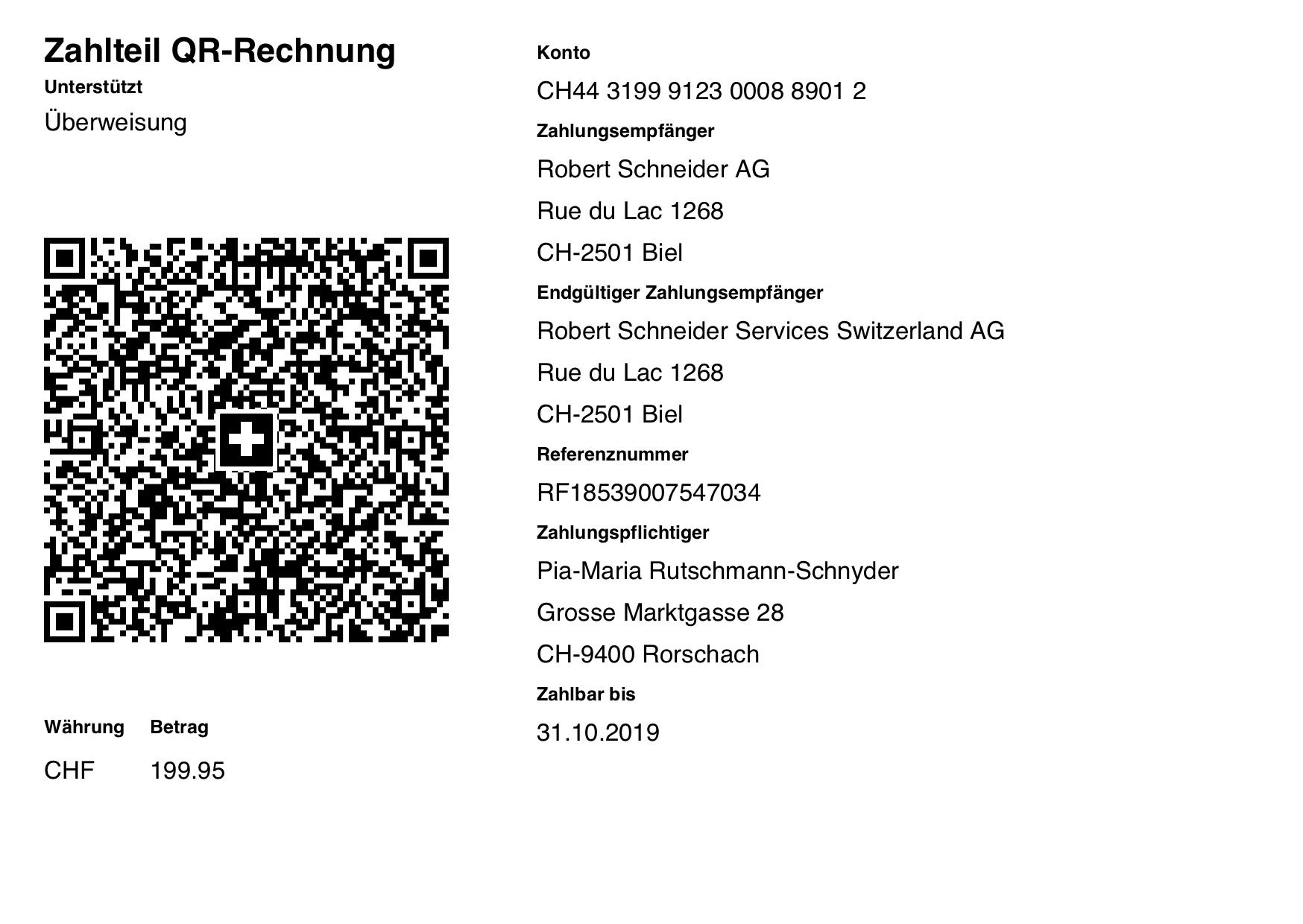 ISO-20022 QR Code Rechnung mit Creditor Reference Referenznummer