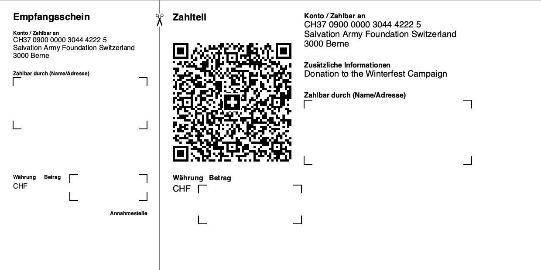 Swiss QR Code - QR Rechnung ohne Referenz, Betrag und Zahlungspflichtiger (Spende)