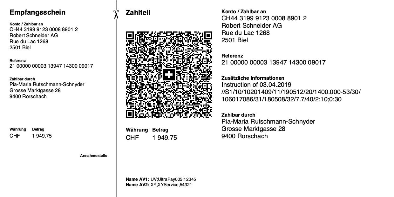 Swiss QR Code - QR Rechnung mit QR Reference Referenznummer und zusätzlichen Informationen