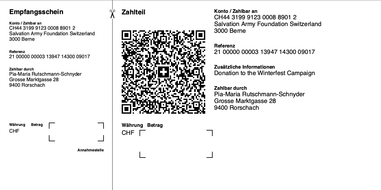 Swiss QR Code - QR Rechnung ohne Referenz, Betrag mit Zahlungspflichtiger