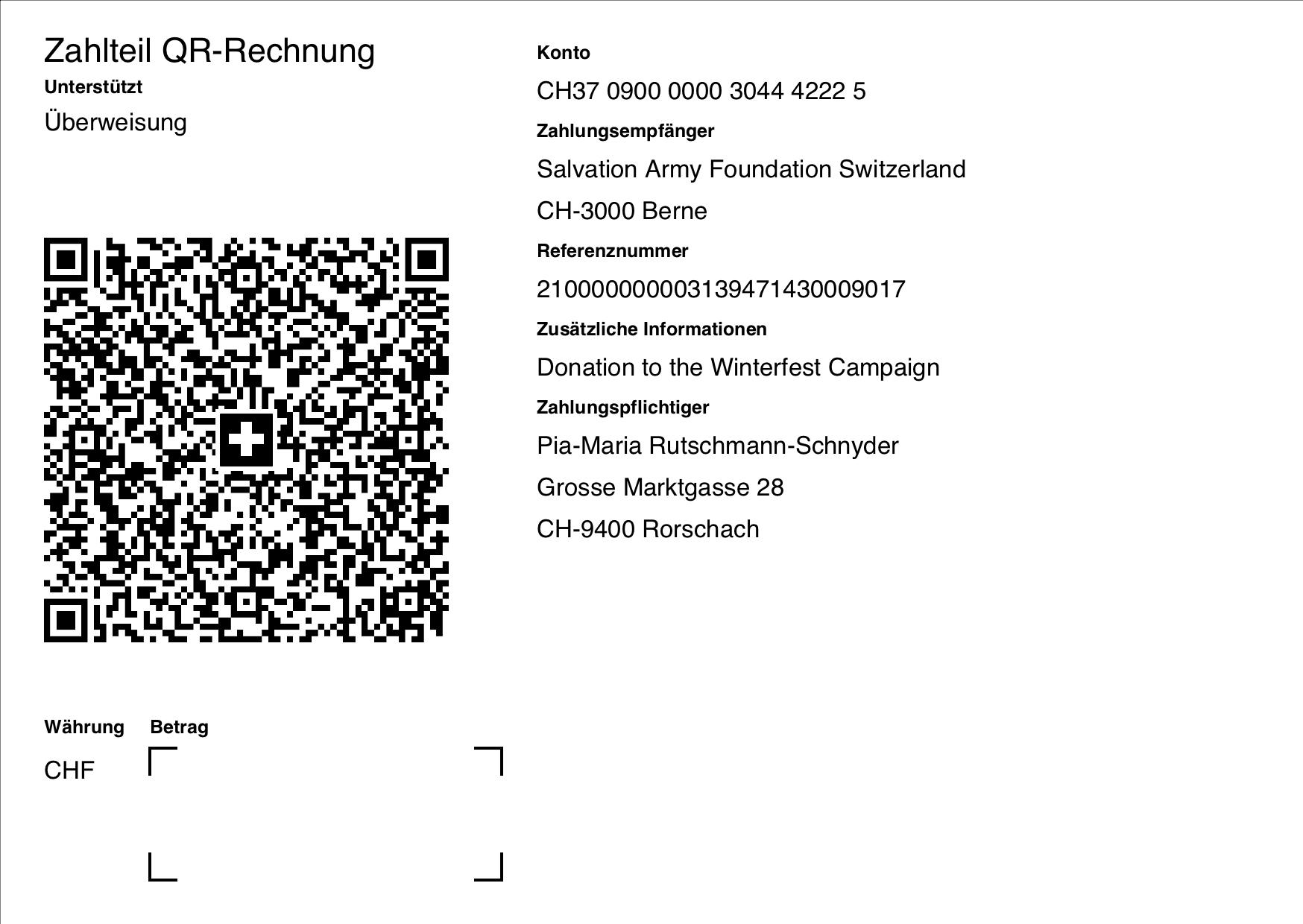 ISO-20022 QR Code Rechnung ohne Referenz, Betrag mit Zahlungspflichtiger